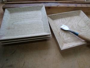 木の器 栗の木の角皿
