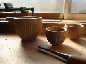 木の酒器 鎬の器