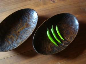 木の器 刳りもの 楕円鉢