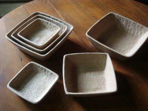 入れ子の木の角鉢